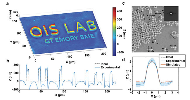 Figure 2. Quantitative capabilities of qOBM. A qOBM image of lithography relief with 300-, 200-, and 100-nm height structures embedded in a tissue-like scattering medium (a). The expected and measured thickness profile across the top six letters (b). A qOBM image of 2-µm polystyrene beads embedded in a tissue-like scattering medium. Inset shows simulated bead (c). The average profile of 20 beads, along with the expected and simulated profiles (d). Reprinted with permission from Reference 8/The Optical Society (OSA).