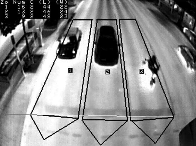 Thermal imaging performed by a FLIR TrafiData camera, enabling traffic managers to create zones according to traffic lanes and to differentiate vehicles from motorcycles and pedestrians. Courtesy of FLIR.