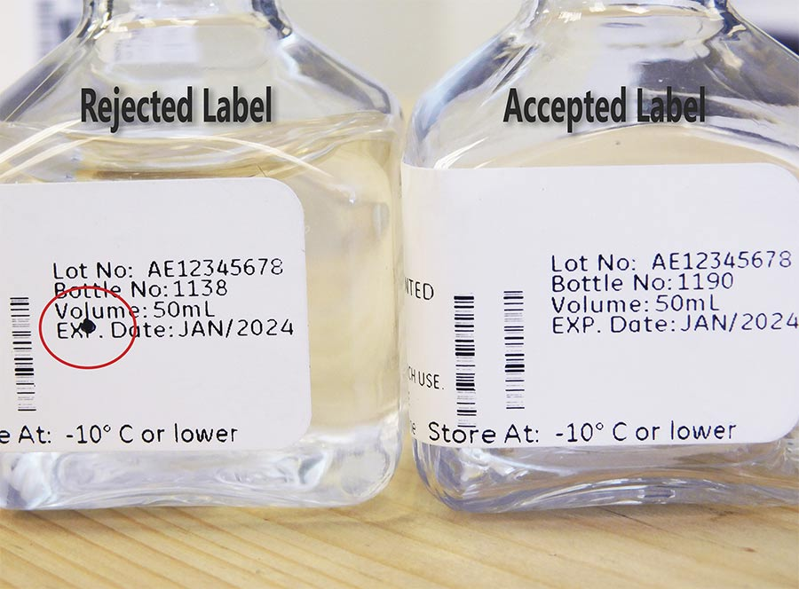 A vision system is trained to recognize a 'bad' image versus a 'good' image for bottle labels. Courtesy of Artemis Vision.