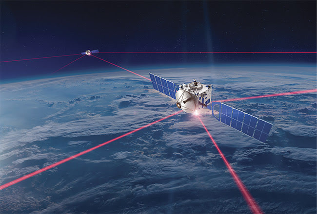 Satellites form constellations of effective coverage for optical communications. Courtesy of Mynaric.