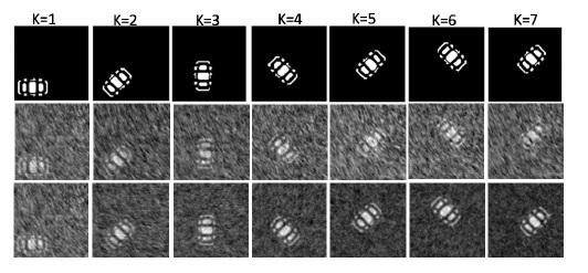 Researchers used ghost imaging to capture images of the translating and rotating object in the first row. They used information in the blurry images (middle row) to create the reconstructed images in the bottom row. Courtesy of Wei-Tao Liu, National University of Defense Technology.