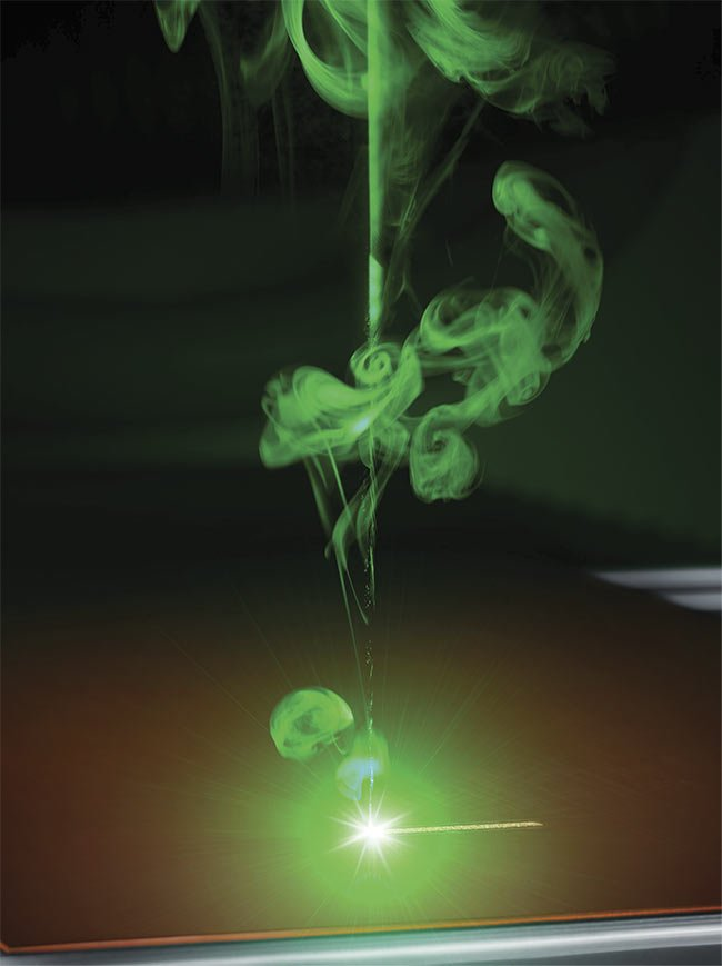 Greater power at shorter wavelengths, as offered by this green laser, is helping to improve materials processing performance, particularly for highly reflective metals such as copper. Courtesy of TRUMPF.