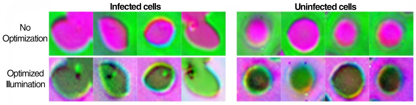 Duke Engineers have developed a new type of microscope that uses a bowl studded with LED lights of various colors and lighting schemes produced by machine learning. Courtesy of Roarke Horstmeyer, Duke University.