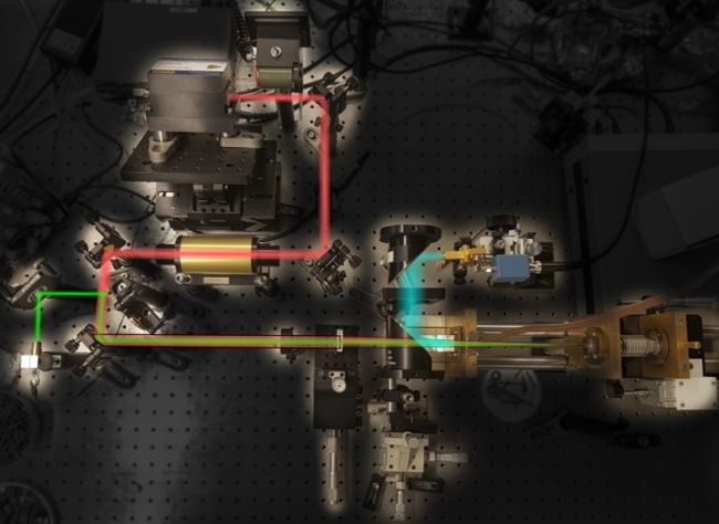 The experimental setup showing the different components of the system and highlighting the path followed by the quantum cascade laser light (red) and terahertz radiation (blue). (Courtesy of: Arman Amirzhan, Harvard SEAS)