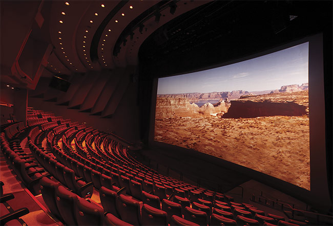 An IMAX theater in Seoul, South Korea, outfitted with a Barco laser projector. Courtesy of Barco.