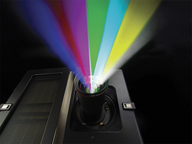 RGB laser projectors such as Barco's DP4K-60L can capture much of the Rec. 2020 color gamut — a possible emerging standard for digital cinema. Courtesy of Barco.