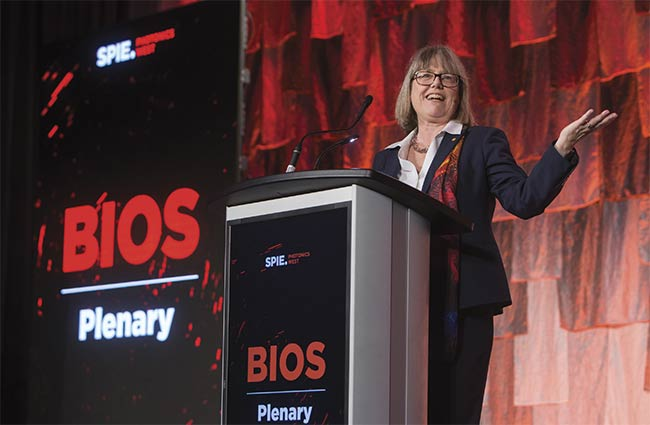 Donna Strickland, professor at the University of Waterloo in Canada, was a plenary speaker at last year's BiOS. She shared the Nobel Prize in physics in 2018. Courtesy of SPIE.