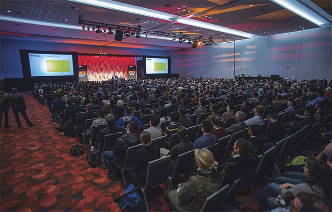 A crowd gathers to listen to a plenary speech at last year's BiOS conference. Courtesy of SPIE.