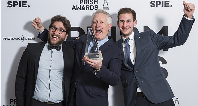 Leica Geosystems team members celebrate their 2019 win in the Imaging and Cameras category.