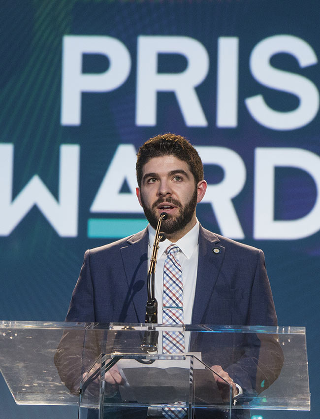 Erik Laurin, a vice president of Photonics Media, delivers a speech at last year's Prism Awards.