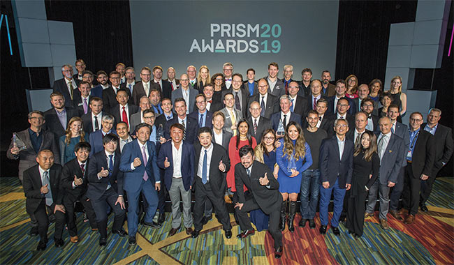 The 2019 Prism Award winners pose for a group photo. Courtesy of SPIE/Joey Cobbs Photography.