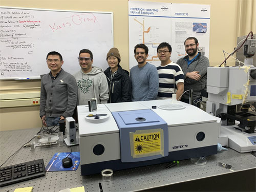 Members of Kats' UW-Madison research team who contributed to this work include postdoctoral scholar Yuzhe Xiao, and graduate students Alireza Shahsafi, Zhaoning (April) Yu, Jad Salman, Chenghao Wan, and Ray Wambold. Courtesy of Renee Meiller. UW-Madison.