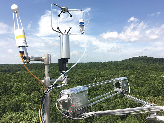 Figure 1. Mark Zondlo's team is using sensitive mid-IR-laser-based detectors to measure ammonia and other environmentally important gases at field sites around the world. Courtesy of Da Pan.