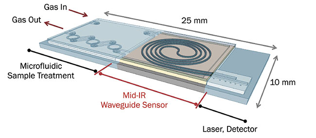 Figure 4. Jana Jágerská's team is developing tiny microchip-based mid-IR systems that could be used in sensor hardware for space missions or to achieve sensitive gas detection in medical devices. Courtesy of Susanne Lagerström.