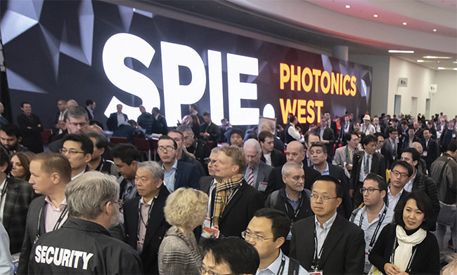 A large crowd gathers as the 2019 exhibition prepares to open. Courtesy of SPIE.