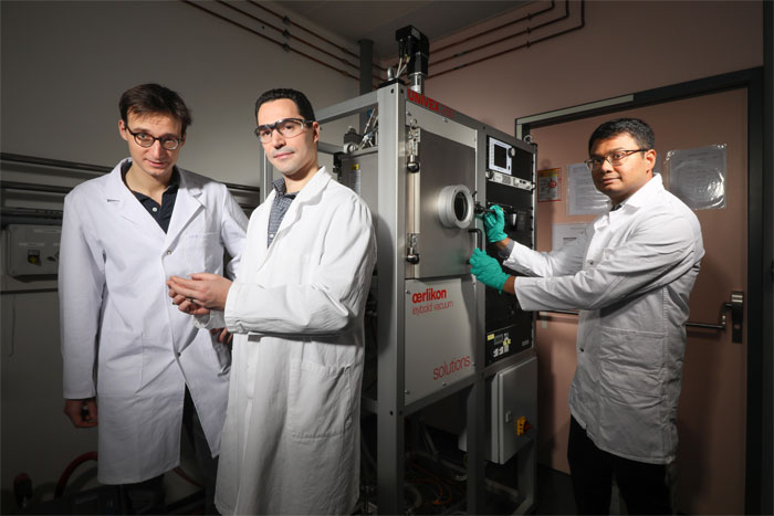 Researchers made metasurfaces in just a few minutes, without needing a clean room. From (l) to (r): Louis-Martin Monier, Fabien Sorin, and Tapajyoti Das Gupta. Courtesy of Alain Herzog/EPFL.