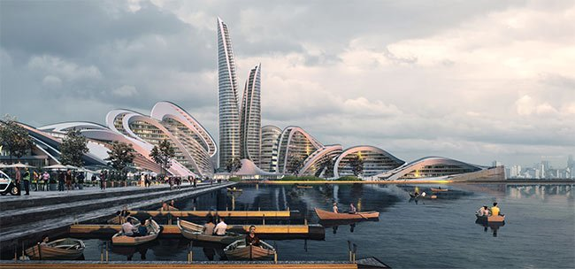 Figure 1. Smart cities, including the Rublyovo-Arkhangelskoye district west of Moscow, will feature smarter energy structures that optimize the use of local sustainable sources such as hydro, geothermal, wind, and solar. Courtesy of Zaha Hadid Architects/Flying Architecture.