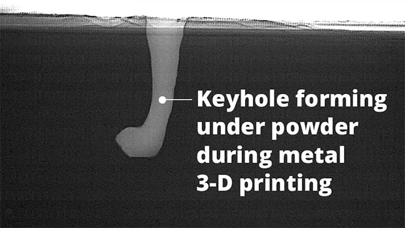Keyhole formation leads to defects in 3D printing, Argonne National Laboratory and Carnegie Mellon University.