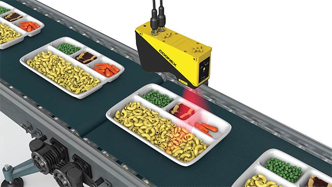 A compact, image-based code reader allows food processors to track products for improved inventory and risk mitigation in the event of allergens, recalls, and health warnings. Courtesy of Cognex Corp.