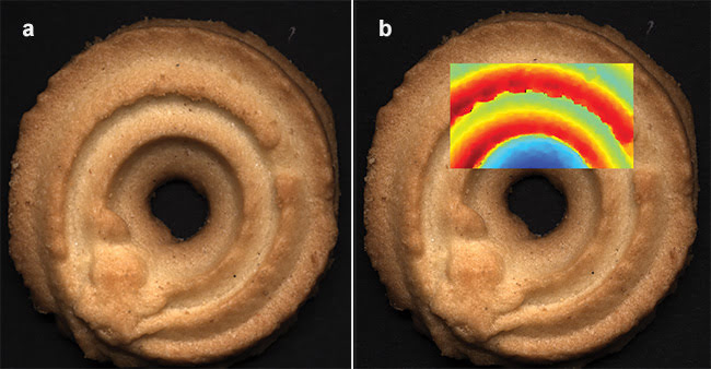 Cookies captured by a stereo 3D color camera and examined for quality and adherence to specifications (a, b). A false color image generated to highlight potential problems (b). Courtesy of Chromasens GmbH.