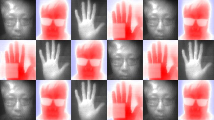 Photos taken by researchers testing a new method to make an infrared camera that could be much less expensive to manufacture. Courtesy of Xin Tang et al.