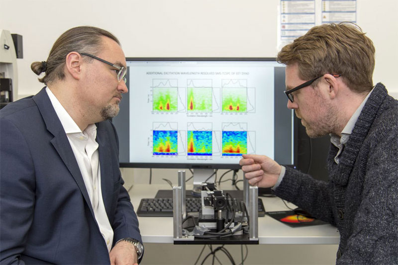 Professor Juergen Hauer (left) and first author Erling Thyrhaug with their measuring instrument. In the background, spectra taken with it. Courtesy of Andreas Battenberg/TUM.