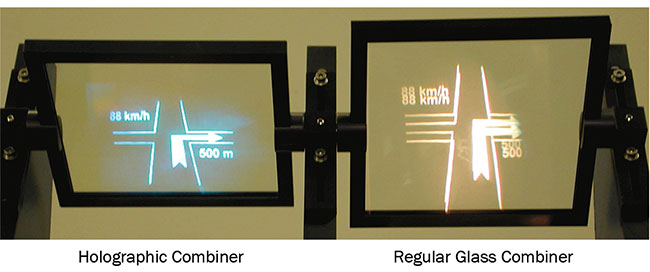 Figure 2. A holographic combiner (left) and a regular glass combiner (right). Note the doubling of the image in the case of the simple glass combiner. Courtesy of Pierre-Alexandre Blanche.
