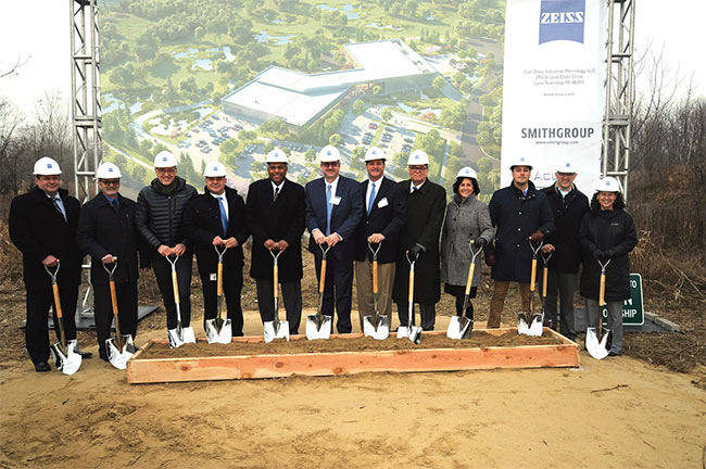 ZEISS' ground-breaking ceremony in Detroit was attended by representatives of ZEISS, the city of Lyon, the county of Oakland, the state of Michigan, and involved construction companies. Courtesy of ZEISS Industrial Quality Solutions.