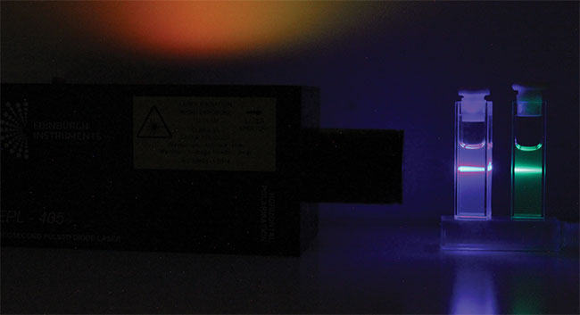 Figure 1. Photoluminescence of perovskite quantum dot (QD) solutions when excited using a 405-nm laser. Courtesy of Edinburgh Instruments Ltd.