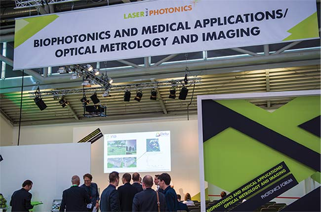 The biophotonics and medical applications/optical metrology and imaging sector will examine everything from AR/VR in medicine to vision for future diagnostics. Courtesy of Messe München GmbH.