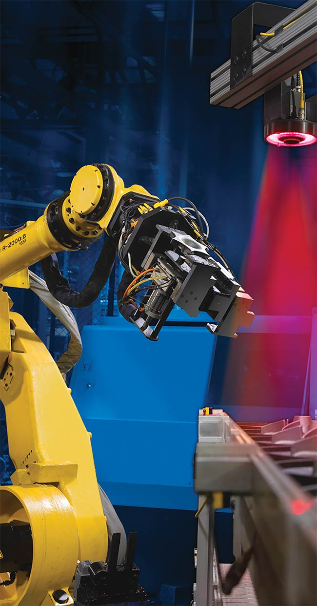 Machine vision has become a prolific enabling technology for industrial robot arms across a broad rand of applications. Courtesy of FANUC CORP.