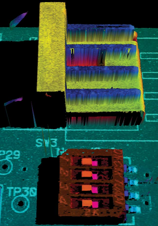 Figure 4. By using dual cameras imaging from various directions, occlusion is reduced, and the connectors on both sides of the dual in-line package (DIP) switch can be imaged and inspected. Courtesy of SICK AG.