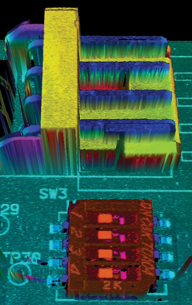 Figure 5. 3D data from a PCB with components scanned by a red 660-nm laser. Speckle-related noise is clearly visible as 'orange peel' effects. The large components measure 3 × 3 mm with a thickness of 1 mm. Courtesy of SICK AG.