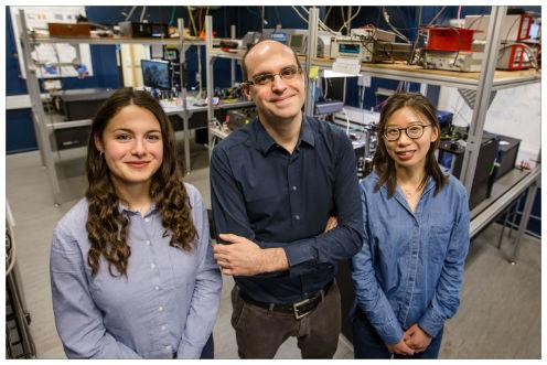 University of Copenhagen nanomechanical router research team from (l) to (r): Camille Papon, Leonardo Midolo, and Xiaoyan Zhou. Courtesy of Ola Jakub.