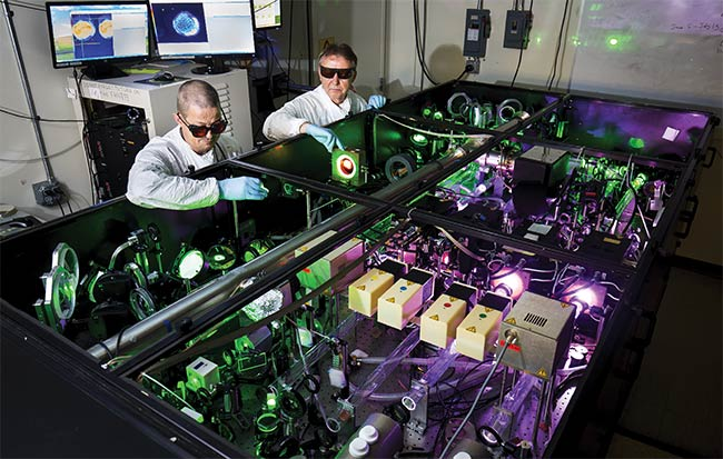 Figure 1. Aligning the final amplifier of the HERCULES laser system. Courtesy of Joseph Xu/University of Michigan.