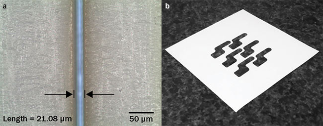 Figure 3. Picosecond UV laser cutting of 45-µm-thick liquid crystal polymer, straight cut at 500 mm/s (a), and contour cuts (b). Courtesy of MKS Spectra-Physics.