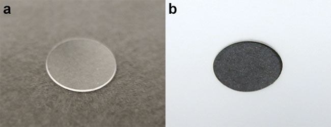 Figure 6. A 150-µm-thick sapphire disk cut with a picosecond laser (a), and a 200-µm-thick alumina ceramic hole (b).Courtesy of MKS Spectra-Physics.