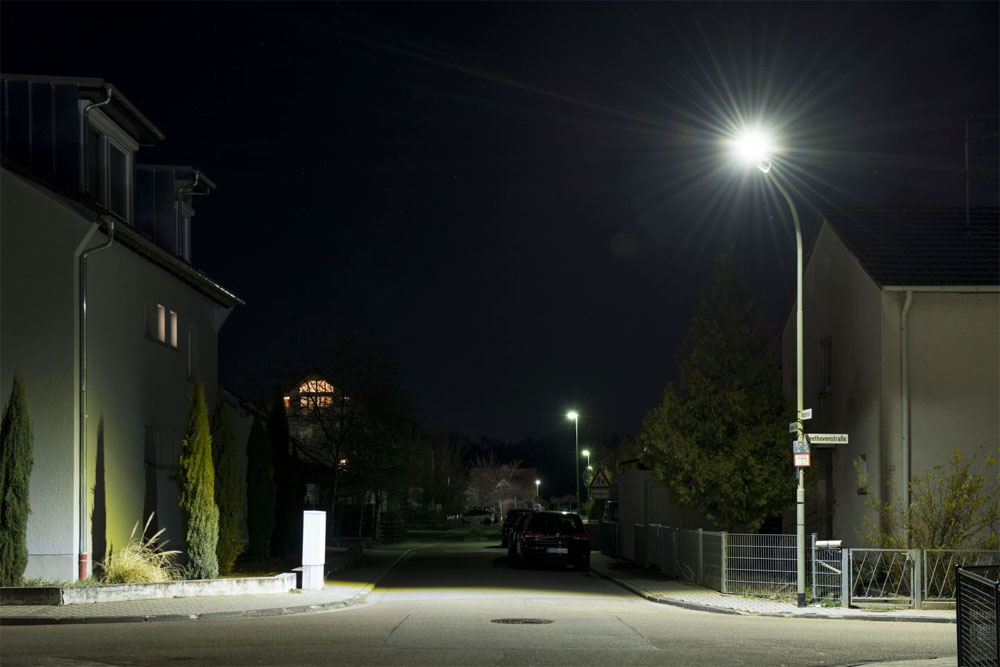 The new street lights tested in Maxdorf consume less power and are much brighter. Courtesy of Tanja Meißner/KIT.