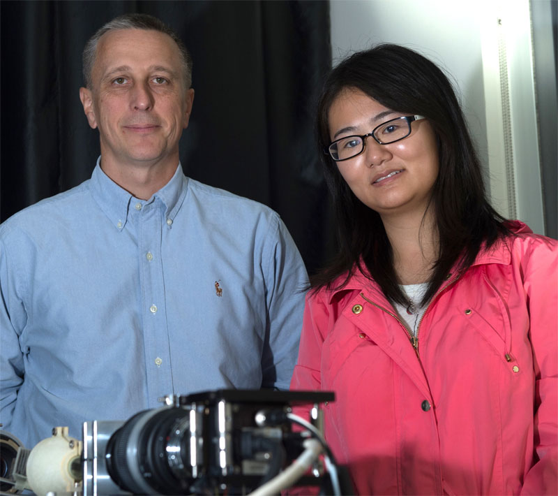 Tomasz S. Tkaczyk and Ye Wang were part of the team that developed a new compact imaging spectrometer for remote sensing applications. Rice University.