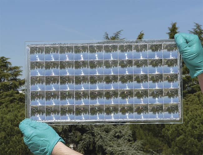 Specially designed achromatic lenses help concentrate light in a cutting-edge experimental CPV cell. Courtesy of Fraunhofer Institute for Solar Energy Systems.