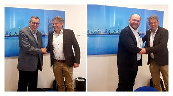 Benno Oderkerk, president of EPIC, welcomes Christian Bosshard (left) and Samuel Bucourt (right) to the organization's board during its meeting in Torino in February 2019. Courtesy of EPIC.