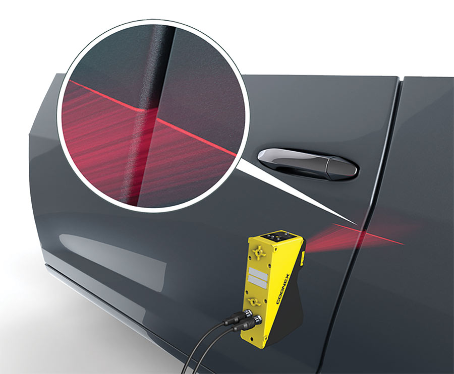 Two In-Sight VC200 machine vision cameras from Cognex verify proper gap measurements on Chrysler and Dodge vehicles, while four laser profilers confirm that doors and body panels are on the same plane. Courtesy of Cognex.
