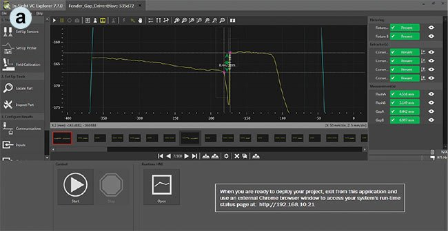 The DS1300 laser profiler software shows the results of a nonflush part (a). Courtesy of Cognex.