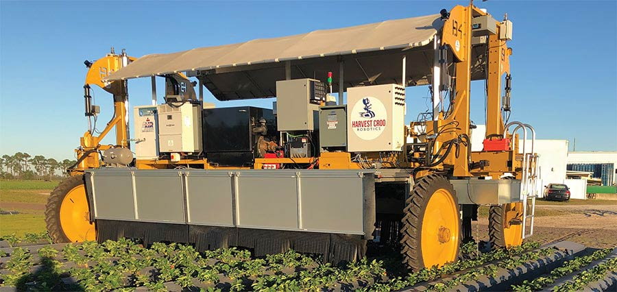 A complete setup of the Harvest CROO Robotics harvester shows the robot with cameras and gripper wheel in place. Courtesy of Harvest CROO Robotics.