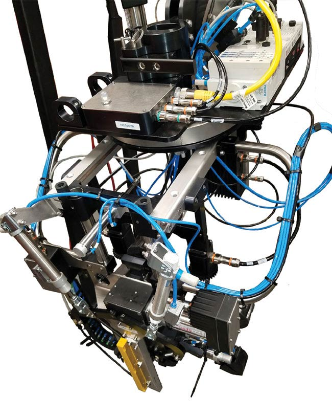 Each robot contains two cameras with stereo vision — which allow the robots to perceive depth — as well as a GPS to track the location of the berries, and lasers to avoid collisions. Courtesy of Harvest CROO Robotics.