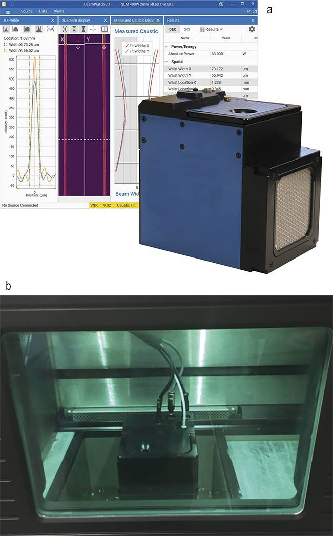 Figure 4. An integrated laser-measurement system that uses Rayleigh scattering to measure the propagation characteristics of additive-manufacturing lasers (a). Measurement system confirming parameters of laser in metal powder bed selective laser sintering (SLS) system (b). Courtesy of Ophir.