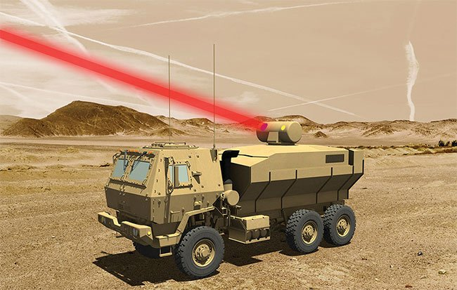 An artist's rendering of a truck-mounted 60-kW laser weapon system for tactical U.S. Army vehicles. Courtesy of Lockheed Martin.