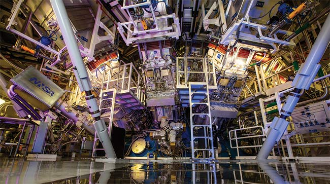 The National Ignition Facility's 192-laser system set a record shot: 2.15 MJ. Courtesy of Lawrence Livermore National Laboratory.