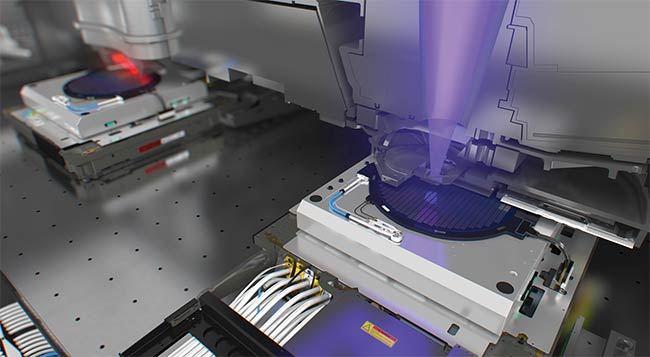 A critical step in manufacturing, semiconductor lithography uses lasers, as shown in this rendering of the exposure and printing of EUV (extreme ultraviolet) lithography of a semiconductor wafer on a stage. Courtesy of ASML.