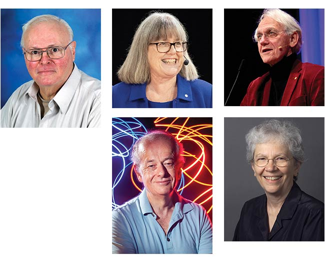 Robert Alfano (top left) Donna Strickland (top middle, courtesy Bengt Nyman) Gérard Mourou (top right, courtesy Joseph Xu, Michigan Engineering) Federico Capasso (bottom middle, courtesy Eliza Grinnel, Harvard SEAS) Mary Louise Spaeth (bottom right, courtesy Lawrence Livermore National Labs)